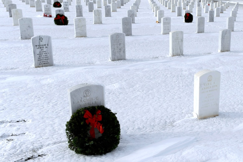 Approximately 250 wreaths honor the graves of veterans at the Black Hills National Cemetery, S.D., Dec. 11.  More than 50 Airmen from Ellsworth Air Force Base, S.D., volunteered to lay wreaths on the graves during the 2010 Wreaths Across America ceremony, held annually on the second Saturday of December in honor of veterans who have passed. (U.S. Air Force photo/Staff Sgt. Marc I. Lane)