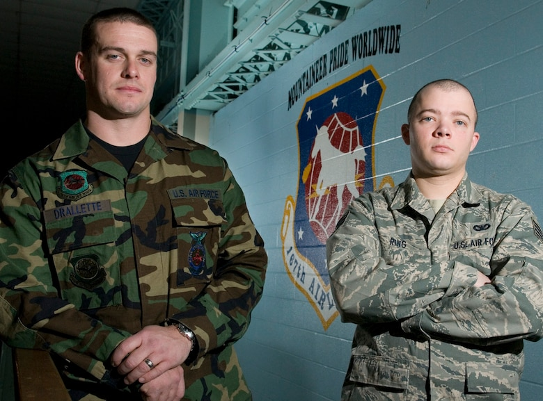 Staff Sgt. Matthew J. Drallette, left, and Staff Sgt. Stephen A. Ring, Airmen with the West Virginia Air National Guard's 167th Airlift Wing in Martinsburg, W.Va., have been lauded for their rescue efforts at the Sleepy Creek Wildlife Management Area off Lodge Road in Hedgesville, W.Va., on the night of Dec. 19, 2009. (U.S. Air Force photo by Master Sgt. Emily Beightol-Deyerle)