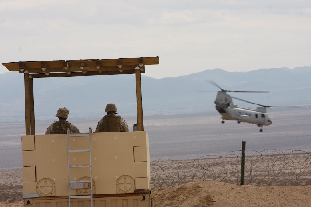 Marines with Company K, 3rd Battalion, 1st Marine Regiment, from Marine Corps Base Camp Pendleton, Calif., watch a CH-46 Sea Knight lifts off Feb. 1, at Combat Center Range 220 during their Enhanced Mojave Viper predeployment training. The battalion will deploy to Afghanistan this spring to support Operation Enduring Freedom.