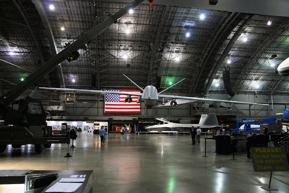 DAYTON, Ohio (01/2010) -- Restoration crews prepare to suspend the YMQ-9 Reaper from the ceiling at the National Museum of the U.S. Air Force. (U.S. Air Force photo)