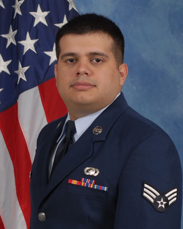 Senior Airman Francisco Manitas, 17th Comptroller Squadron is the 2009 Airman of the Year for the 17th Training Wing, Goodfellow AFB, Texas. The annual awards program recognizes both civilians and members in 16 categories of the Air Force, Army, Navy and Marines who are assigned to the wing, for their significant contributions to the 17 TRW, the community and mission. (U.S. Air Force photo/ Lou Czarnecki)