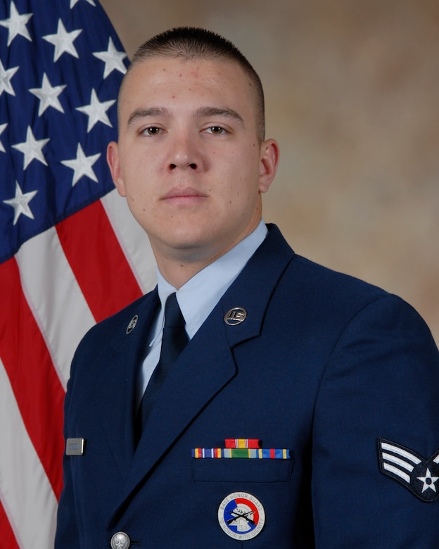 Senior Airman Chance Borgeson, 17th Medical Group is the 2009 Honor Guard Member of the Year for the 17th Training Wing, Goodfellow AFB, Texas. The annual awards program recognizes both civilians and members in 16 categories of the Air Force, Army, Navy and Marines who are assigned to the wing, for their significant contributions to the 17 TRW, the community and mission. (U.S. Air Force photo/ Lou Czarnecki)
