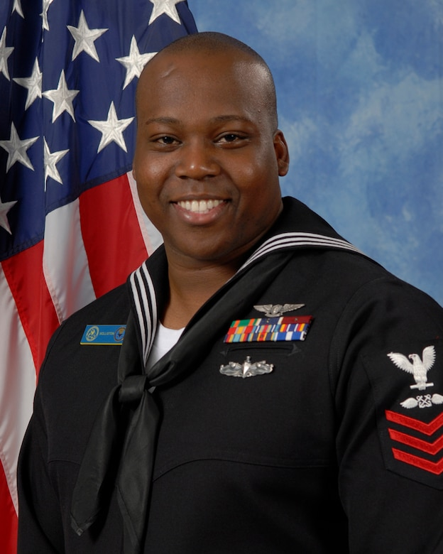 Petty Officer 1st Class Terrone Wolliston, Center of Information Dominance Detachment is the 2009 Sailor of the Year for the 17th Training Wing, Goodfellow AFB, Texas. The annual awards program recognizes both civilians and members in 16 categories of the Air Force, Army, Navy and Marines who are assigned to the wing, for their significant contributions to the 17 TRW, the community and mission. (U.S. Air Force photo/ Lou Czarnecki)