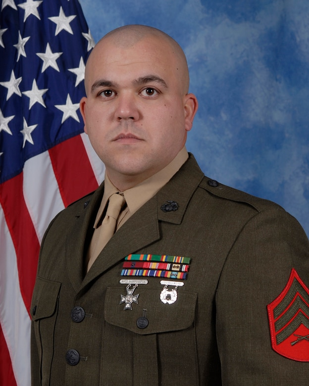 Sgt. Travis Godley, Marine Corp Detachment, is the 2009 MCD NCO of the year for the 17th Training Wing, Goodfellow AFB, Texas. The annual awards program recognizes both civilians and members in 16 categories of the Air Force, Army, Navy and Marines who are assigned to the wing, for their significant contributions to the 17 TRW, the community and mission. (U.S. Air Force photo/ Lou Czarnecki)