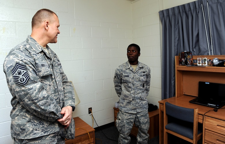NELLIS AIR FORCE BASE, Nev. -- Chief Master Sgt. of the Air Force James A. Roy conducts a dorm inspection at Airman 1st Class Ryan Lowery's dorm, Feb. 3. (U.S. Air Force photo by Airman 1st Class Brett Clashman/RELEASED)