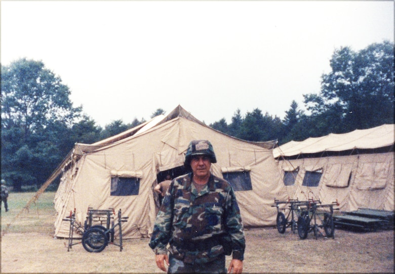 In 1992, Master Sgt. Jack Lamons, a bio-engineering technician with the 118th Air Wing of the Air National Guard, posed for a picture during a two-week summer camp training at a field hospital at the Alpena Combat Readiness Training Center, Mich. (Photo provided)