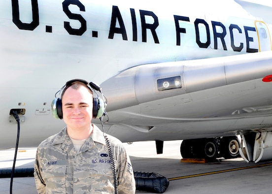 Senior Airman Robert Kirby, an instrument and flight control systems journeyman, maintains the airborne warning and control system on the E-3 Sentry AWACS at a non-disclosed base in Southwest Asia. Here he is pictured near an E-3 on Jan. 23, 2010. Airman Kirby is deployed from the 552nd Aircraft Maintenance Squadron at Tinker Air Force Base, Okla., and his hometown is Fayetteville, Ga. (U.S. Air Force Photo/Capt. Cathleen Snow/Released)