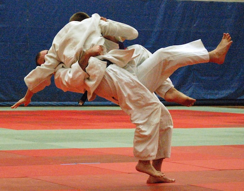 Air Force Academy senior Nolan Brock executes a throw during a Judo competition at the U.S. Olympic Training Center in Colorado Springs, Colo., Jan. 16, 2010. Brock won a gold medal in novice competition and a silver in regular competition during the National Armed Forces Championships at Fort Leavenworth, Kan., in November 2009.