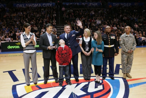 Master Sgt. Spencer Cluff, a member of the 507th Medical Squadron and founder of Kidz 4 Troops, was honored with a Community Hero Award. Cluff's award was presented during a halftime Oklahoma City Thunder's game. The Thunder organization and Devon Energy recognized Kidz 4 Troop's support of all service members. Kidz 4 Troops promotes correspondence between students and service members. To date, Kidz 4 Troops has received over 300,000 letters from students in over 33 states.