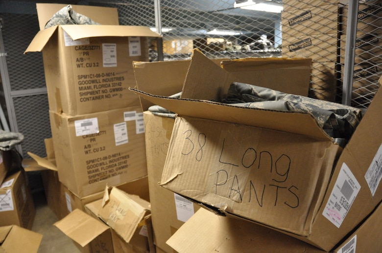 Boxes of ABU pants, 38 Long, crowd the entrance of Retail Sales in the supply warehouse at the 128th Air Refueling Wing.  (US Air Force Photo by: SSgt Nathan Wallin)