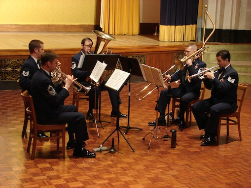 The USAF Band's Brass Quintet performing on January 8, 2010, at the George Washington Masonic Memorial in Alexandria, Va.  This concert was part of The U.S. Air Force Band's Chamber Players Series.  These free concerts feature smaller ensembles performing throughout the  year at more intimate settings in and around Washington, D.C.