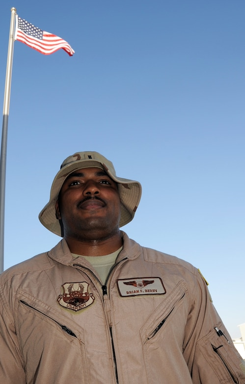 "First Lt. Brian Berry is an E-3 Sentry Airborne Warning and Control System aircraft air weapons officer with the 965th Expeditionary Airborne Air Control Squadron deployed to a non-disclosed base in Southwest Asia.  Here he is pictured on Feb. 8, 2010. The 965th EAACS is an attached unit of the 380th Air Expeditionary Wing. The E-3 Sentry is used extensively for AWACS operations in the U.S. Central Command area of responsibility supporting Operation Iraqi Freedom, the Combined Joint Task Force-Horn of Africa, and Operation Enduring Freedom. In 2009, E-3s from the 380th AEW flew more than 370 combat sorties supporting more than 990 ""troops in contact"" events. (U.S. Air Force Photo/Master Sgt. Scott T. Sturkol/Released)"