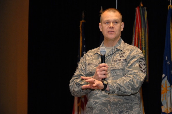 "Chief Master Sergeant for the Air Force James A. Roy addressed approximately 360 Soldiers and Airmen at the third ""Joint"" Michigan National Guard Senior Noncommissioned Officer Conference Feb. 6, 2010 in Grand Rapids, Mich. Roy, a Monroe, Mich. native, represents the highest enlisted level of leadership for the Air Force. (USAF photo by MSgt. Clancey Pence)"