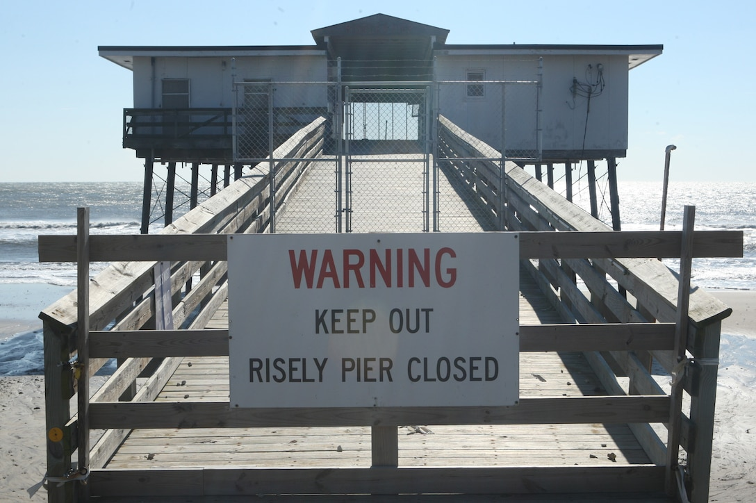 MARINE CORPS BASE CAMP LEJEUNE, N.C. – Riseley Pier has been condemned since 2005 due to maintaining costs and structural erosion. (Marine Corps photo by Lance Cpl. Jonathan G. Wright)