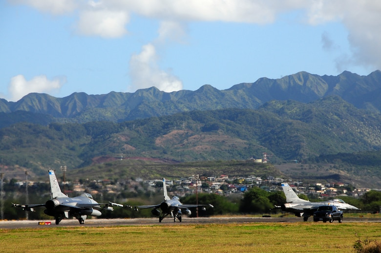 Two F-16s from the 148th Fighter Wing, out of Duluth Minnesota taxi down the runway at Hickam Air Force Base in Hawaii on February 1, 2010.  The 148th FW is at Hickam AFB to partake in Sentry Aloha.  (U.S. Air Force photo by Ssgt Donald L. Acton)