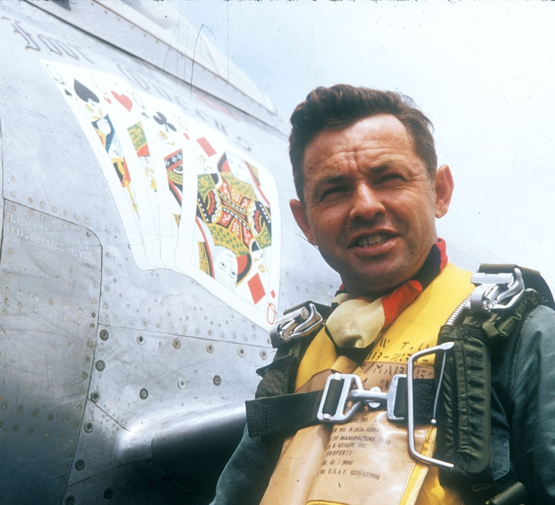 "Col. Joe Davis and his F-84 ""Four Queens."" (U.S. Air Force photo)"