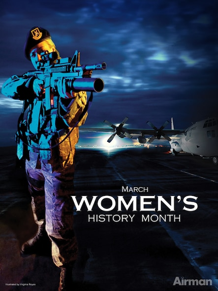 Woman's History Month Poster, 2010.  Ceated by Virginia Reyes of the Defense Media Activity-San Antonio.  Air Force Link does not provide printed posters but a PDF file of this poster is available for local printing. Requests can be made to afgraphics@dma.mil. Please specify the title and number.