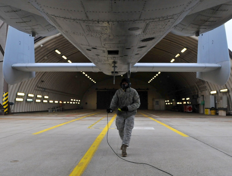 SPANGDAHLEM AIR BASE, Germany -- Airman 1st Class Savon Scales, 52nd Aircraft Maintenance Squadron crew chief, performs a final check on an A-10 Thunderbolt II prior to launch Feb. 9 on the flightline. Final checks ensure no leaks are overlooked and items on the aircraft are secure. (U.S. Air Force photo/Airman 1st Class Nick Wilson)
