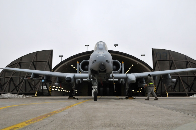 SPANGDAHLEM AIR BASE, Germany -- Airman 1st Class Savon Scales, 52nd Aircraft Maintenance Squadron crew chief, speaks with an A-10 Thunderbolt II pilot, via communications cord Feb. 9 on the flightline. The communications cord allows pilots and ground crew to communicate during pre-flight. (U.S. Air Force photo/Airman 1st Class Nick Wilson)