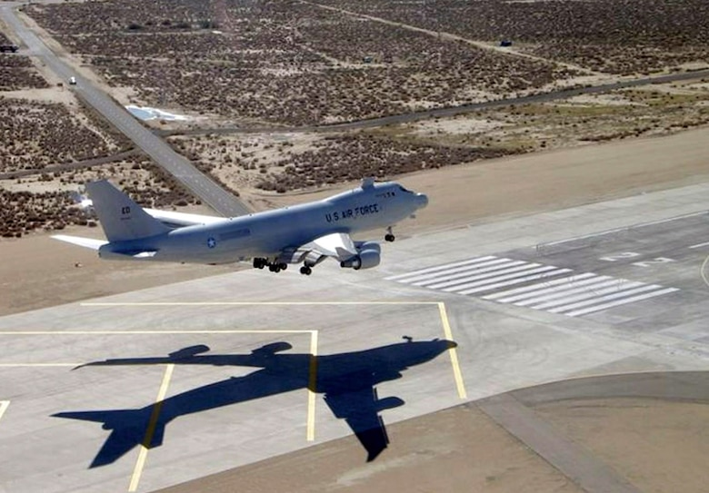 The YAL-1A, a modified Boeing 747-400F known as the Airborne Laser, lands at Edwards Air Force Base, Calif. The Airborne Laser Testbed successfully destroyed a boosting ballistic missile Feb. 11 over the Pacific Ocean. (U.S. Air Force photo)