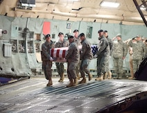 A U.S. Army carry team transfers the remains of Army SGT Dillion Fox of Traverse City, MI., at Dover Air Force Base, Del.,on February 12, 2010. (U.S. Air Force photo/Brianne Zimny. SGT Fox was of the 1st Battalion, 508th Parachute Infantry Regiment, 4th Brigade Combat Team, 82nd Airbourne Division of Fort Bragg, N.C.