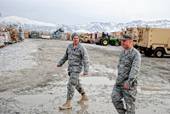 Capt. Al Knapp 455 Air Expeditionary Wing Expeditionary Logistics readiness Squadron Duty officer (Right) and Lt. Col. Travis Condon 455 Air Expeditionary Wing Expeditionary Logistics readiness Squadron Commander  inspect the TMO yard in Bagram Airfield, Afghanistan.(Photo by U.S. Air Force SrA Andrew Caya Combined Joint Task Force 82nd Airborne Division Public Affairs)