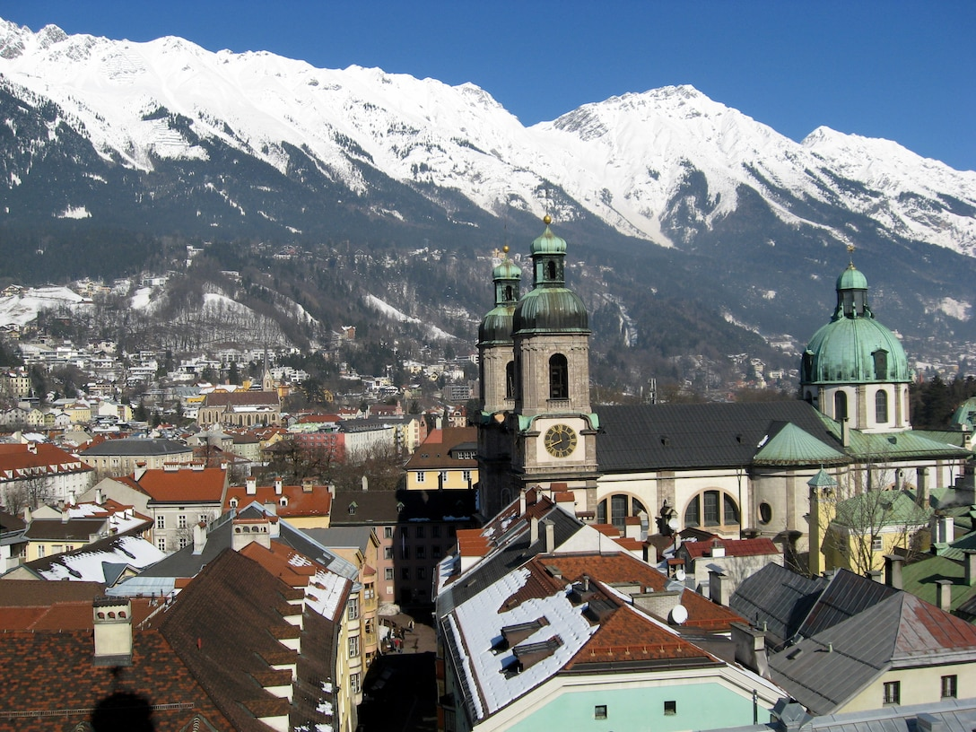 St. Jacob's Cathedral towers over the city of Innsbruck, Austria Feb. 28, 2009. Innsbruck offers a variety of activities and was host to the 1964 and 1976 Olympic Games. (U.S. Air Force photo/2nd Lt. Brian Wagner)