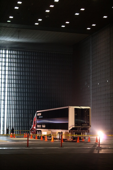 This Navistar truck is outfitted with special aerodynamic attachments produced by Lawrence Livermore Laboratory and is being tested in the AEDC-operated National Full-Scale Aerodynamics Complex 80-by-120 foot wind tunnel at NASA Ames in Mountain View, Calif. (Air Force photo by Joel Fortner)