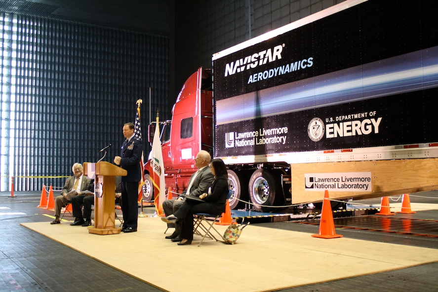 AEDC Commander Col. Michael Panarisi speaks at a media event Feb. 16 at the AEDC-operated National Full-Scale Aerodynamics Complex at NASA Ames in California. The media event was held to inform the public about the Department of Energy sponsored truck test at NFAC. The truck's trailer has been outfitted with special aerodynamic attachments, which is the focus of the test program. (Air Force by Joel Fortner)