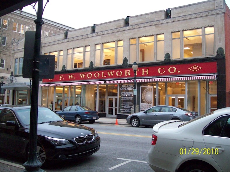 The F.W. Woolworth Co. store in Greensboro, N.C., is now the site of the International Civil Rights Center and Museum, which opened on Feb. 1, to mark the 50th anniversary of the sit-ins, when four African Americans sat at a segregated lunch counter and asked to be served. (U.S. Air Force photo/Tech. Sgt. Monique Killian)