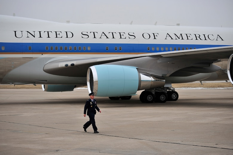 BUCKLEY AIR FORCE BASE, Colo. --  Col. Clint Crosier, 460th Space Wing commander, departs the flightline after escorting President Barack Obama Feb. 18. President Obama is attending a fund-raiser in Denver this week. (U.S. Air Force photo by Senior Airman Kathrine McDowell)