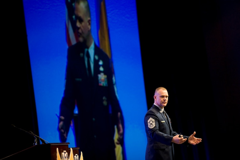Chief Master Sgt. of the Air Force James A. Roy speaks about the enlisted perspective during the Air Force Association's Air Warfare Symposium and Technology Exposition Feb. 18, 2010, at the Rosen Shingle Creek Hotel in Orlando, Fla. The symposium will run through Feb. 19.  (U.S. Air Force photo/Staff Sgt. Desiree N. Palacios)