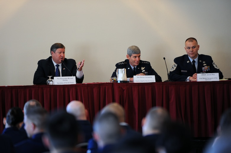 Air Force Secretary Michael Donley, Air Force Chief of Staff Norton Schwartz and Chief Master Sgt. of the Air Force James A. Roy answer questions with the junior force during the Air Force Association's Air Warfare Symposium and Technology Exposition Feb. 18, 2010, at the Rosen Shingle Creek Hotel in Orlando, Fla. The symposium will runs through Feb. 19.  (U.S. Air Force photo/Staff Sgt. Desiree N. Palacios)