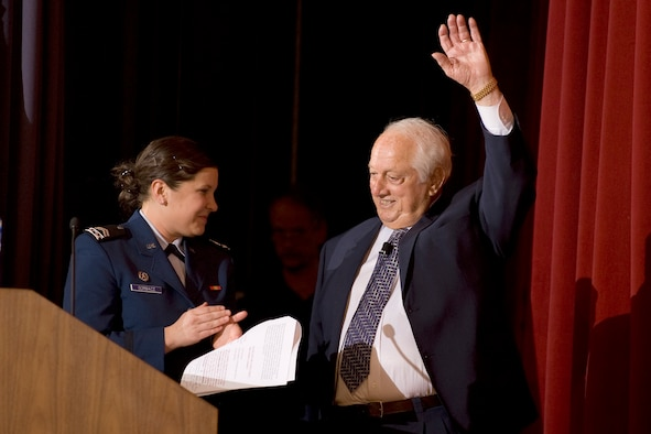 Tommy Lasorda, former LA Dodgers manager, is introduced by Cadet 2nd Class Katie Gorbacz to cadets Feb. 18, 2010, during a keynote session at the 17th-annual National Character and Leadership Symposium at the U.S. Air Force Academy. This annual event continues to be regarded as one of the premier national symposiums in the area of character development, designed to guide cadets toward turning ethical reasoning into action, improving knowledge of ethics and foundations of character, and developing a sense of moral courage. Cadet Gorbacz is assigned to Cadet Squadron 11. (U.S. Air Force photo/Bill Evans)