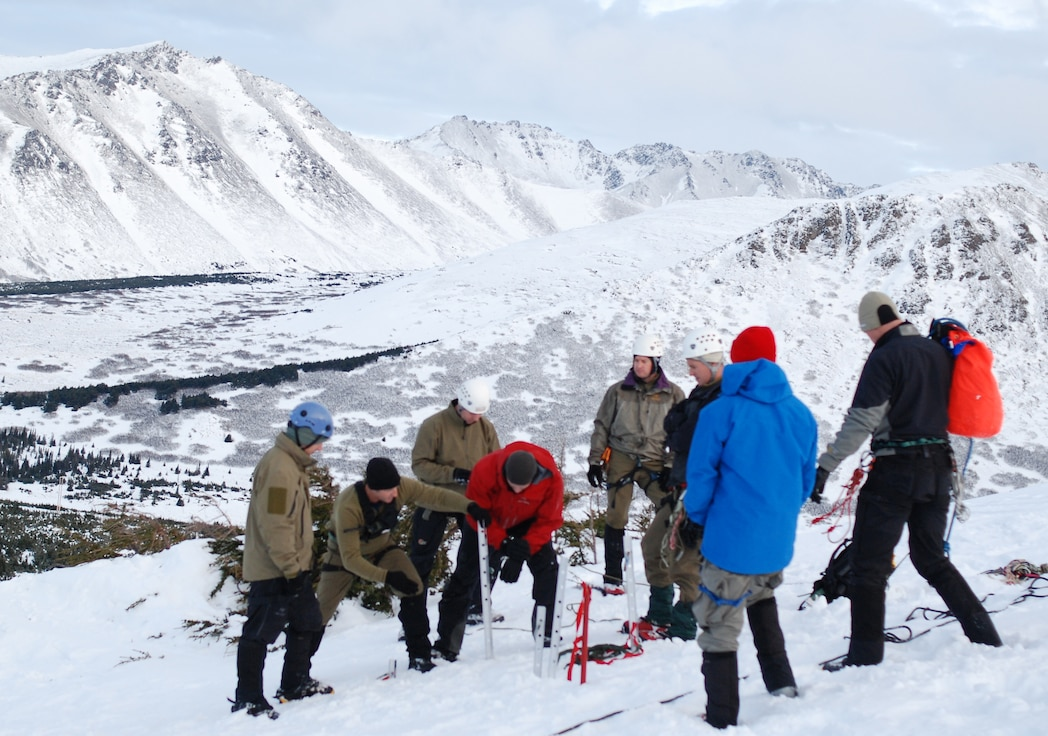ANCHORAGE, Alaska - Air Force Reserve Pararescuemen from the 920th Rescue Wing gather together in Anchorage, Alaska for pre-deplyoment training in the snow covered mountains.These PJs are scheduled for deployment and traveled to Alaska to train in the snow and terrain they may face while deployed.  (U.S. Air Force photo/Staff Sgt. Leslie Kraushaar)