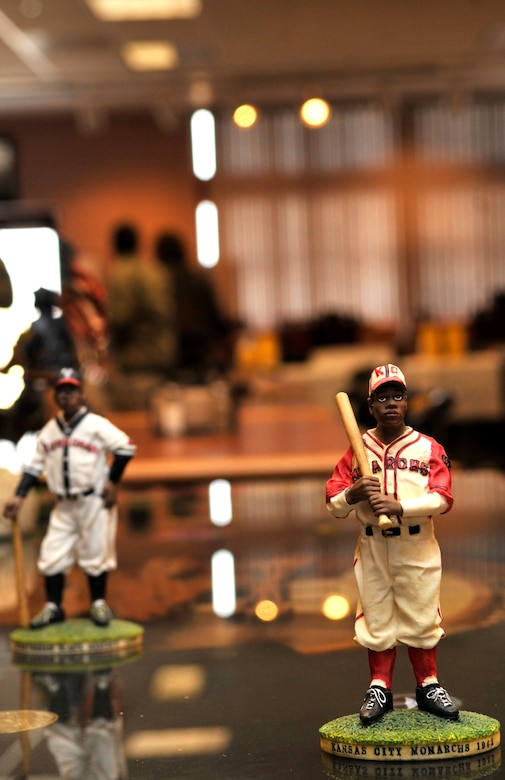 BUCKLEY AIR FORCE BASE, Colo. -- African American baseball miniatures were on display at the Black History Month Proclamation Ceremony Feb. 12 in remembrance of some of the first African Americans to play in professional baseball. (U.S. Air Force photo by Airman 1st Class  Paul Labbe)