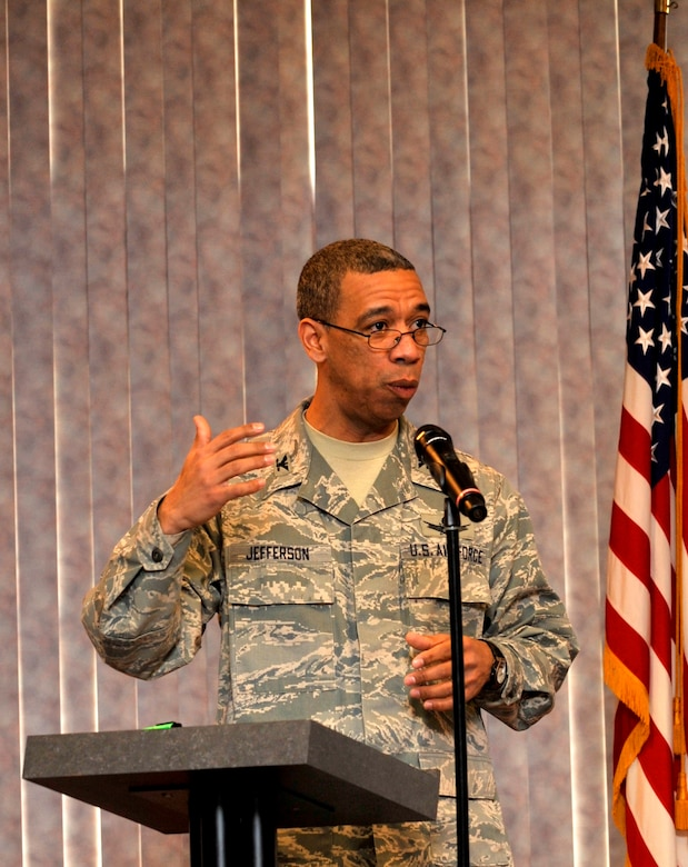 BUCKLEY AIR FORCE BASE, Colo. -- Col. Vincent Jefferson, 460th Mission Support Group commander, speaks about how far African Americans have come in this nation during the Black History Month Proclamation Ceremony Feb. 12. (U.S Air Force photo by Airman 1st Class Paul Labbe)