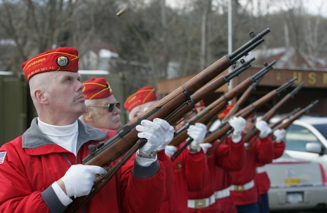 The Marine Corps League Detachment 246 presented a rifle salute, Feb. 19, 2010, in honor  of Iwo Jima veterans attending their annual celebration for the Marines who fought in the Feb 19 - March 26, 1945 battle. (Official Marine Corps photo by Sgt. Randall A. Clinton)