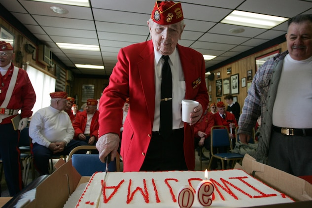 Paul Ryan, a sergeant with 3rd Tank Battalion, 3rd Marine Division, celebrated his 90th birthday with the members of the Marine Corps League Detachment 246, Feb. 19, 2010. Ryan spent 34 months in the Pacific during World War II. (Official Marine Corps photo by Sgt. Randall A. Clinton)