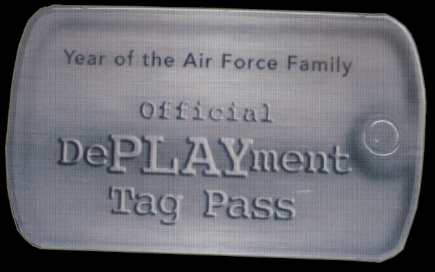 The Air Force's new DePLAYment program, distributed by Airmen & Family Readiness, allows spouses of deployed Airmen to receive discounts at on-base facilities and save.  For more information, call the A&FRC at 882-9060.  Air Force Graphic/ Samuel King Jr.