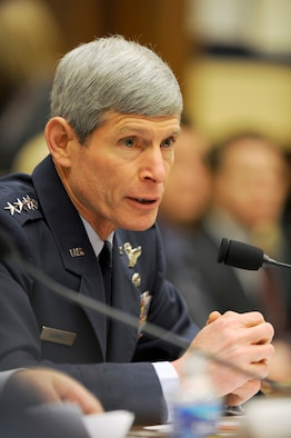 """Air Force Chief of Staff Gen. Norton Schwartz serves as a witness before the House Armed Services Committee Feb. 23, 2010, in the Rayburn House Office Building on Capitol Hill.  Both General Schwartz and Secretary of the Air Force Michael Donley answered questions that heavily leaned toward the status of the F-35 Lightning II joint strike fighter program, alignment with allies in future aircraft development, force readiness and the service's position on the review of the """"Don't Ask, Don't Tell"""" policy.  (U.S. Air Force photo/Scott M. Ash)"""