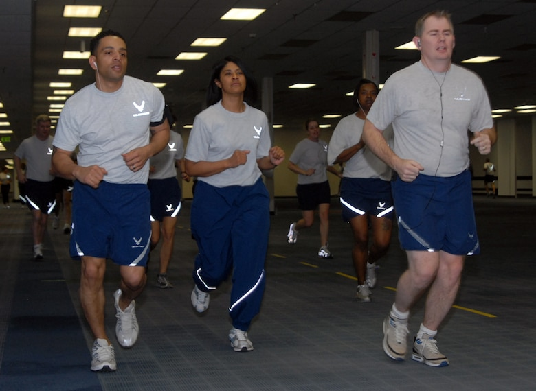 Members of the Air Reserve Personnel Center run here as part of the ARPC physical training program Feb. 23. (U.S. Air Force photo by Dwayne Beuthel.)