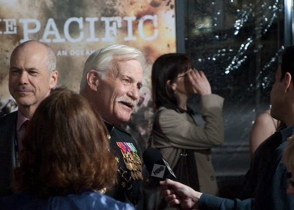 Retired Capt. Dale Dye, a decorated Marine veteran of the Vietnam War and senior military advisor on 'The Pacific,' speaks with media members on the red carpet at the Hollywood premiere of HBO's new 10-part miniseries.