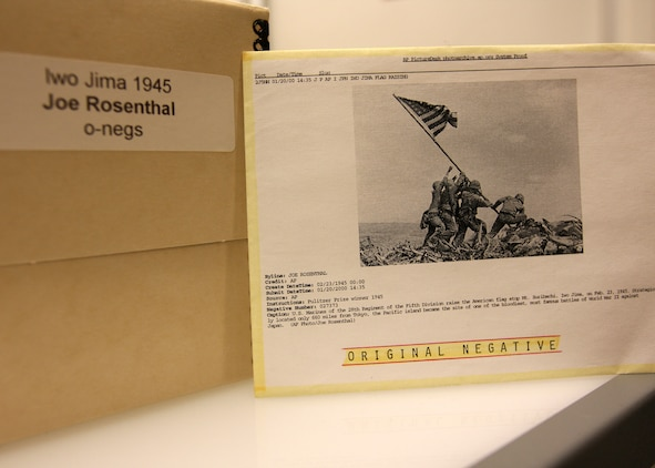Associated Press photographer Joe Rosenthal's photo of the flag raising on Iwo Jima is arguably the most famous news photograph in history. The original photo negative, which was taken Feb. 23, 1945, is preserved in the archives of the AP in New York.