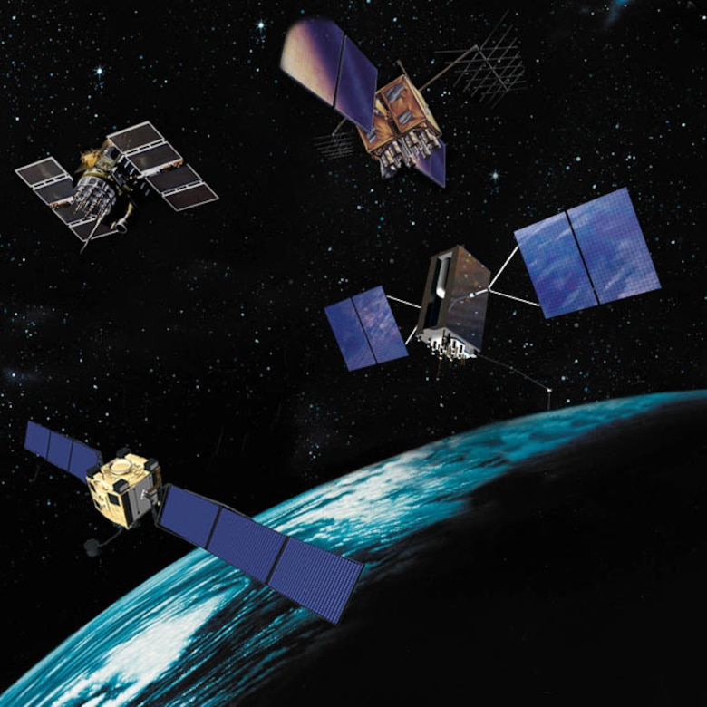 GPS Satellites II, IIR, IIF and III pictured over the Earth.