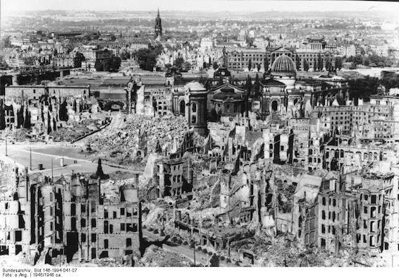Dresden, after the attacks, is reduced to rubble.  The city has since been rebuilt but some of the ruins were left intact as monuments to the casualties and to remind future generations of the costs of war.  The casualties and destruction of Dresden, although a subject of historical debate, were actually on par with other attacks in World War II.  The fire bombings of Tokyo, for instance, produced 100,000 casualties.   (Courtesy photo)