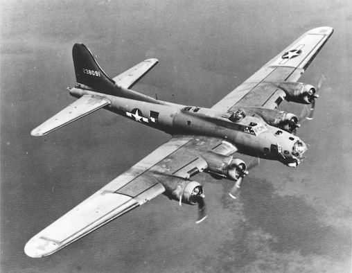 B-17s from 8th Air Force were the other arm of the Dresden attacks.  B-17s used the new technology of radar guided bombing as well as the Norden Bomb Sight for their attacks.  Nearly 1,300 tons of bombs were dropped on the ancient city between the Royal Air Force and the U.S. Army Air Forces. (Courtesy photo)