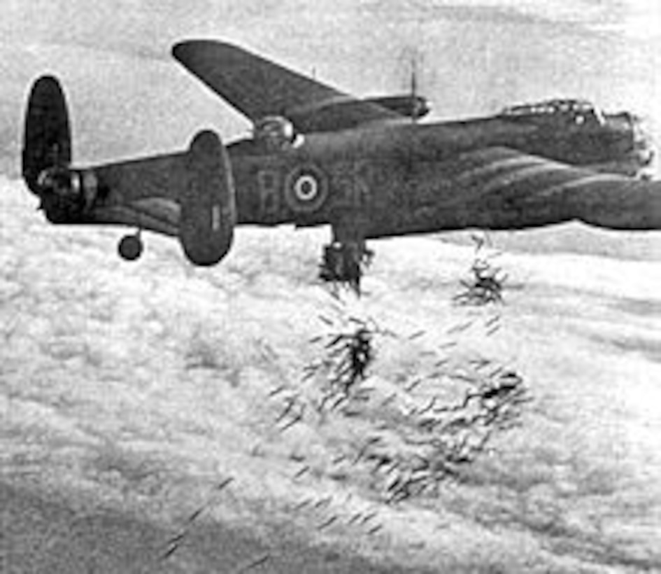 British Lancaster bombers like this one dropped tons of incendiary bombs on the German city of Dresden during World War II  One interesting historical factoid is British bombers largely used a visual bombing method of bombing which involved the lighter and faster Mosquito bombers dropping red flares over the target before the Lancasters moved in  The city was attacked by Royal Air Force and US bomber forces over a period of several days Courtesy photo