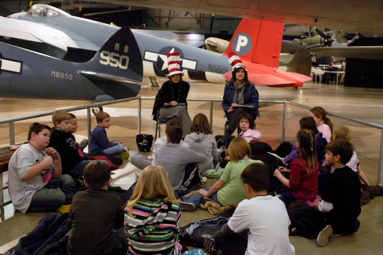 DAYTON, Ohio -- More than 1,000 second- and third-graders from the Dayton area participated in Read Across America at the National Museum of the U.S. Air Force on Feb. 25-26, 2010. Various reading stations were set up around the museum, and volunteers from Wright-Patterson Air Force Base read aviation-related stories during the national celebration, which takes place each year around Dr. Seuss' birthday. (U.S. Air Force photo)
