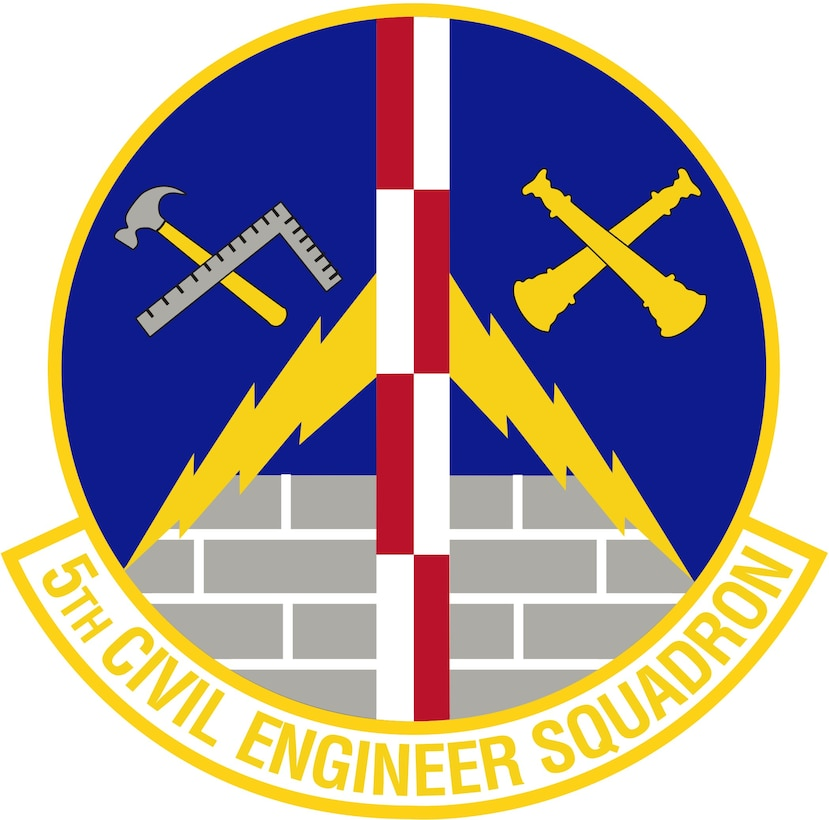 5th Civil Engineer Squadron (Color). Image provided by 5 BW/HO. In accordance with Chapter 3 of AFI 84-105, commercial reproduction of this emblem is NOT permitted without the permission of the proponent organizational/unit commander. Image is 7 x 7 inches @ 300 dpi